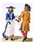 Habits of Ballad Singers, C.1675 (Coloured Engraving) Giclee Print by  English