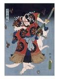The Warrior (Colour Woodblock Print) Giclee-tryk i høj kvalitet af Utagawa Kunisada