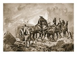 Driver King Assisting in Hooking a Gun to a Limber under Heavy Fire (Litho) Giclee Print by George Derville Rowlandson