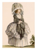 A Lady's Summer Promenade Gown, Engraved by Deny, from 'Galeries Des Modes Et Costumes Francais' Giclee Print by Claude Louis Desrais