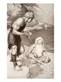 Finn Finds the Salmon of Knowledge, Illustration from 'Celtic Myth and Legend' by Charles Squire Giclee Print by Harold Robert Millar