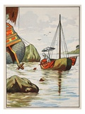 Robinson Crusoe Rescuing a Dog from a Spanish Shipwreck Giclee Print by  English