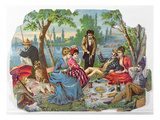 Summer Picnic by the River (Colour Litho) Giclee Print by  French