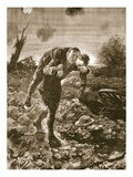 Temporary Lieutenant G. St. G. S. Cather Bringing in a Wounded Man in Full View of the Enemy Giclee Print by Alfred Pearse