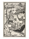 When Evening Came They Got into their Boat Again, Wreathing it with Flowers from Prow to Stern Giclee Print by Walter Crane
