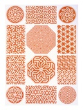 Stucco Decoration: Various Geometric Patterns, 19th Century (Print) Reproduction procédé giclée par Emile Prisse d'Avennes