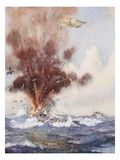 Squadron-Commander A.W. Bigsworth Attacks with Bombs a German Submarine Giclee Print by Joseph Harold Swanwick