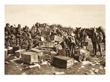 Welcome Groceries Captured Intact from an Enemy Supply Camp During the German Offensive of 1918 Giclee Print by  German photographer