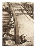 Breakthrough of the Allied Armies in Eastern Galicia: Footbridge over Railway Blasted by Russians Giclee Print by  German photographer