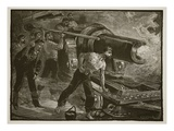 Naval Warfare: Working a Ship's Gun, Engraved by W.J. Palmer (Engraving) Giclee Print by William Heysham Overend