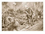 Captain W. Allen Assisting Men Wounded by the Explosion of Ammunition after Being Himself Wounded Giclee Print by Howard K. Elcock