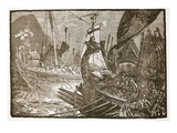 Sea-Fight Between Ptolemy and Demetrius Poliorcetes Off Salamis (Litho) Giclee Print by  English