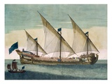A Three-Masted Galleass under Way by Sail, Oars Shipped, from 'Le Naptune Francois', C.1693-1700 Giclee Print by Pierre Mortier