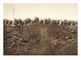 Reserves Advance across the No Man's Land Between St. Quentin and Laon (B/W Photo) Giclee Print by  German photographer