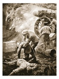 Sergeant T. Green Rescuing, Unaided, Three Severely Wounded Men from a Burning Gun-Hut (Litho) Giclee Print by W. Avis