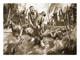 Drummer Kenny Rescuing a Comrade under Very Heavy Fire (Litho) Giclee Print by Howard K. Elcock