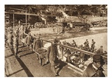 Italian Prisoners Bring their Wounded Comrades to an Aid Station at Tolmin (B/W Photo) Giclee Print by  German photographer