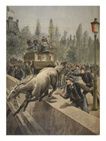 A Horse Committing Suicide, Illustration from 'Le Petit Journal: Supplement Illustre', 1898 Premium Giclee Print by  French