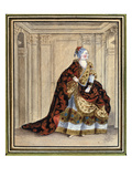 Mlle Clairon in the Role of Pulcherie in 'Heraclius' by Corneille (Gouache on Paper) Giclee Print by  French