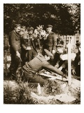 Marine Riflemen Decorate a Grave at Nieuport Cemetery, 1915 (Sepia Photo) Giclee Print by  French Photographer