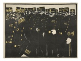 Inspection of a Line of Police Officers, Illustration from 'L'Assiette Au Beurre: La Police' Giclee Print by Georges d' Ostoya