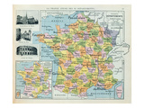 Map of France, C. 1914 (Colour Litho) Premium Giclee Print by  French