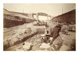 Latchford Viaduct, Showing Locks in Distance (Sepia Photo) Giclee Print by Thomas Birtles