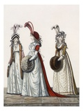 Evening Dresses, Fig. 40, Fig. 41 and Fig. 42 from 'The Gallery of Fashion', 1797 Giclee Print by Nicolaus von Heideloff