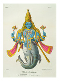 Matsyavatara or Matsya, from &#39;L&#39;Inde Francaise...&#39;, Engraved by Marlet and Cie, Pub Paris 1827-1835 Reproduction proc&#233;d&#233; gicl&#233;e par A. Geringer