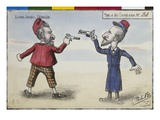Postcard the Duel Between Paul Deroulede and Jean Jaures, December 1904 (Colour Litho) Giclee Print by  French