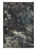 Titania Lying Asleep, Illustration from &#39;Midsummer Nights Dream&#39; by William Shakespeare, 1908 Giclee Print by Arthur Rackham