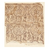 Lining Paper with a Tudor Rose Pattern, C.1550 (Woodblock Print) Giclee Print by  English