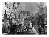 Camille Corot at Work in His Studio, Illustration from &#39;L&#39;Illustration&#39; Magazine, 1875 (Engraving) Giclee Print by Michel Charles Fichot