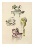 Bonnets for an Occasion, Fashion Plate from Ackermann's Repository of Arts (Coloured Engraving) Giclee Print by  English