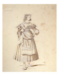 Costume Design for &#39;Mathurine&#39; in an 1847 Production of &#39;Don Juan&#39; by Moliere (1622-73) Giclee Print by Achille Deveria