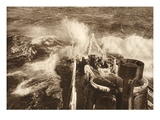 Torpedo Ship in Rough Sea (B/W Photo) Giclee Print by  German photographer
