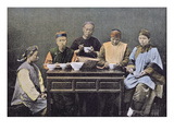 A Chinese Family Having a Meal, C.1900 (Colour Litho) Giclee Print by  Chinese