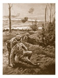 The Rev. W.R.F. Addison Carries a Wounded Man to the Cover of a Trench Premium Giclee Print by H. Ripperger