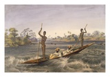 Zanjueelah, the Boatman of the Rapids, from 'The Victoria Falls, Zambesi River', Pub. 1865 Giclée-tryk af Thomas Baines