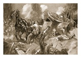 Driver Tanser Extricating Horses under Heavy Shell-Fire (Litho) Giclee Print by Howard K. Elcock