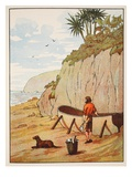 Robinson Crusoe's Canoe Giclee Print by  English