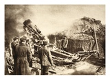 In a Mortar Station on the Siret Front (B/W Photo0 Giclee Print by  German photographer