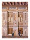 Cairo: Interior of the Mosque of Qaitbay; Worshippers Pray at the Side Wall of the Mihrab C15th Giclee Print by Emile Prisse d'Avennes