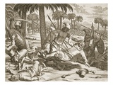 Ceylon (Sri Lanka): Battle Between Negumbo Tribesmen and Dutch Troops of Don Philippo Mascarenas Giclee Print by Philip Baldaeus