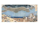 Major Construction by River Kunigos (Colour Woodblock Print) Giclee Print by  Japanese