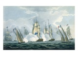 Hms Sirius, Captain Rowse Engaging a French Squadron Off the Mouth of the Tiber, 17th April, 1806 Giclee Print by Thomas Whitcombe