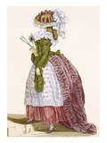 Lady's Elaborate Gown in Burgundy and Green, Engraved by Dupin, Plate No.200 Giclee Print by Francois Louis Joseph Watteau