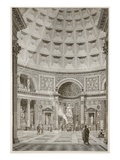 Interior of the Pantheon at Rome (Restored) (Litho) Giclee Print by  English