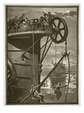 Modern Science: Picking Up a Telegraph Cable at Sea, Engraved by W.J. Palmer (Engraving) Giclee Print by William Heysham Overend