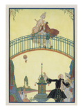 Love on the Bridge, Illustration for 'Fetes Galantes' by Paul Verlaine (1844-96) 1928 Giclee Print by Georges Barbier